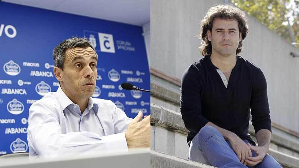 Carmelo del Pozo, en una foto reciente en el Dépor, y Ángel Becerra,...
