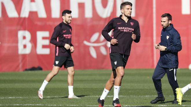Carriço, en un entrenamiento reciente con el Sevilla.