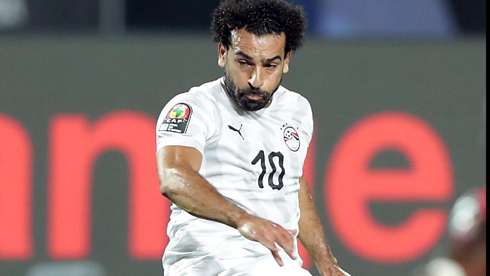 Salah, durante un partido con Egipto