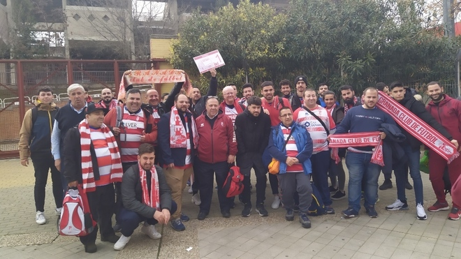 Some of the fans of Granada who traveled to Bilbao.