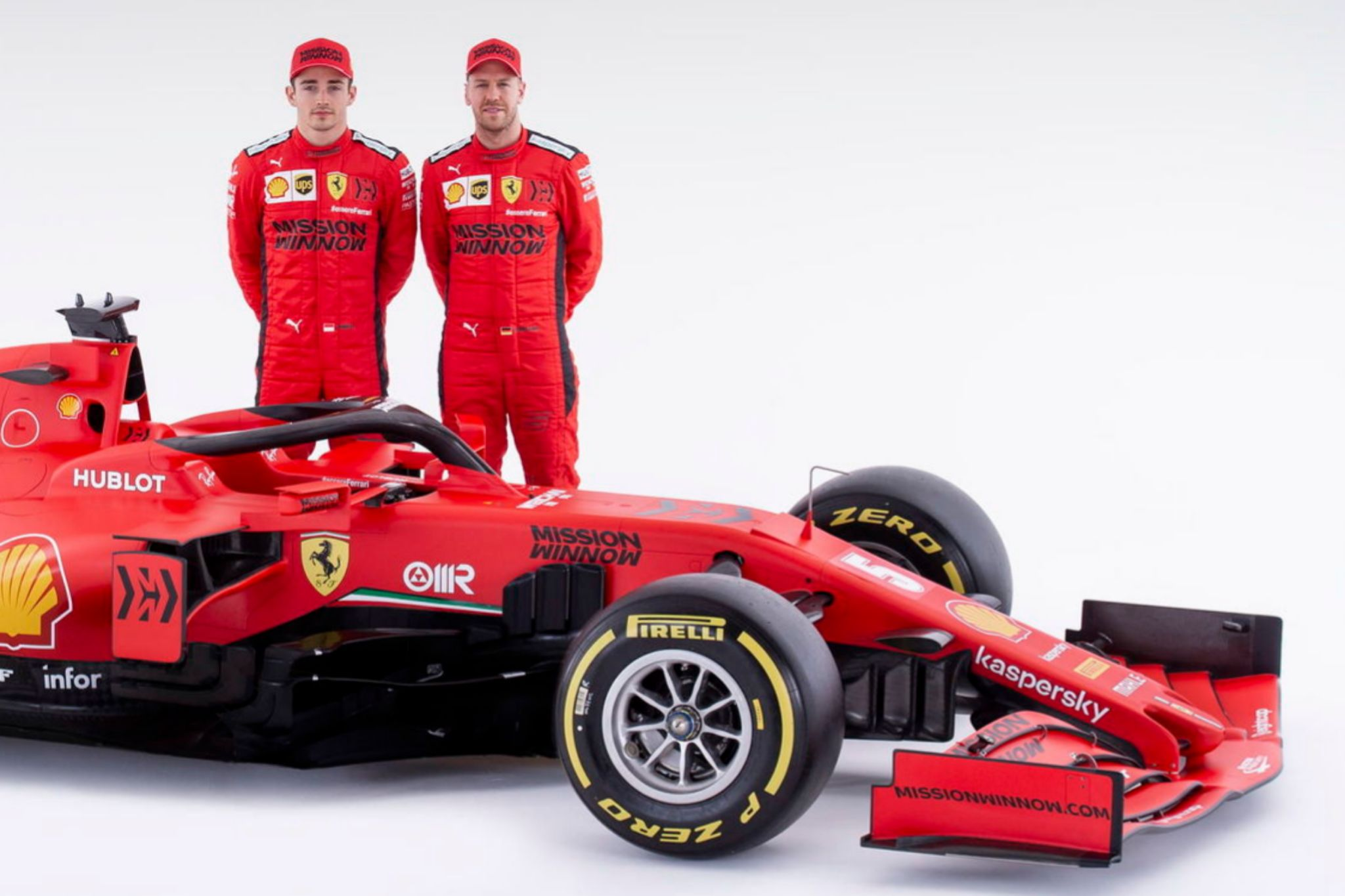 Zzzz (Italy), 11/02/2020.- A handout photo made available by the Ferrari press office on 11 February 2020 shows racing drivers Sebstian lt;HIT gt;Vettel lt;/HIT gt; (L) and Charles Leclerc with the SF1000, Ferraris car for the Formula One World Championship 2020. (Fórmula Uno, Italia) EFE/EPA/SCUDERIA FERRARI PRESS OFFICE HANDOUT EDITORIAL USE ONLY/NO SALES