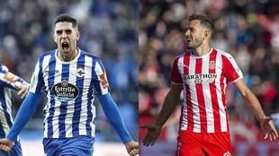 Sabin Merino y Stuani celebrando sendos goles con Dépor y Girona