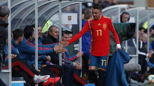 Iago Aspas, en un partido con la selección española.