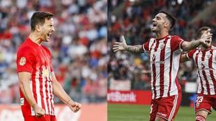 Juan Muñoz y Lazo celebran sendos goles con el Almería en el Juegos...