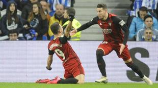 Matheus celebra el gol del Mirandés.