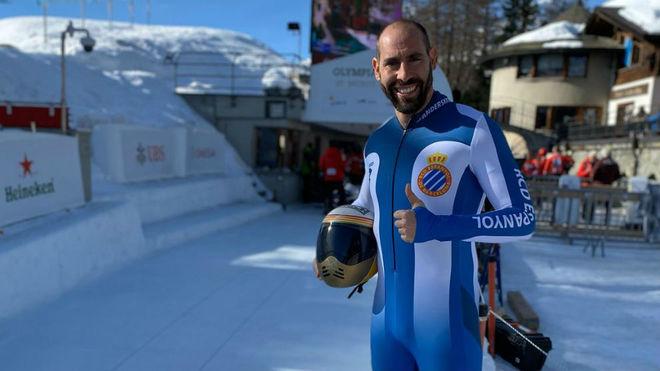 Ander Mirambell, con los colores del Espanyol en Saint Moritz.