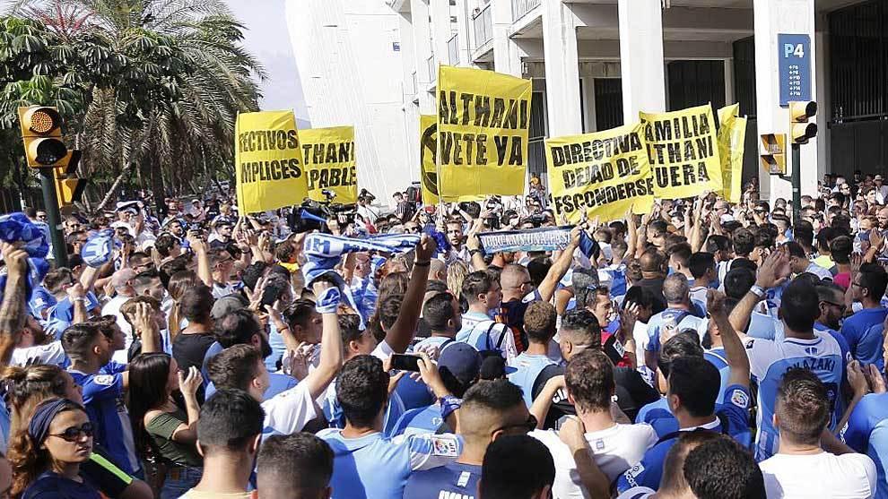 Manifestación esta temporada en La Rosaleda contra Al Thani y su...