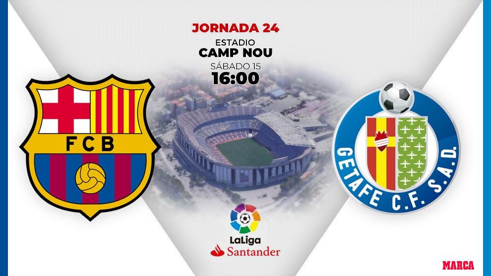 El Barcelona recibe al Getafe a las 16:00 horas en el Camp Nou.