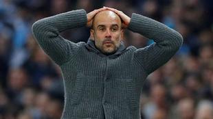 Pep Guardiola se lamenta en un partido del City
