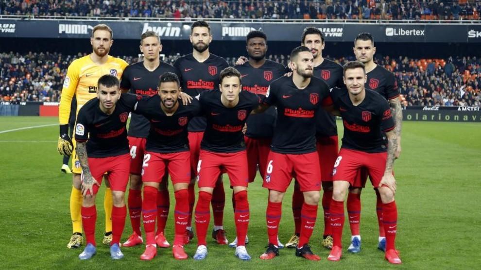 Once titular del Atlético de Madrid ante el Valencia.