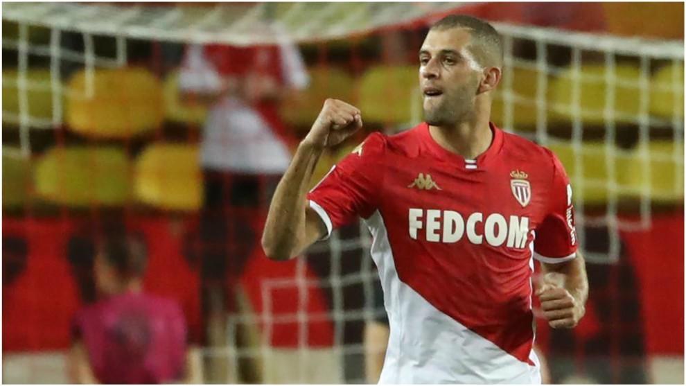Slimani celebra un gol del Mónaco.