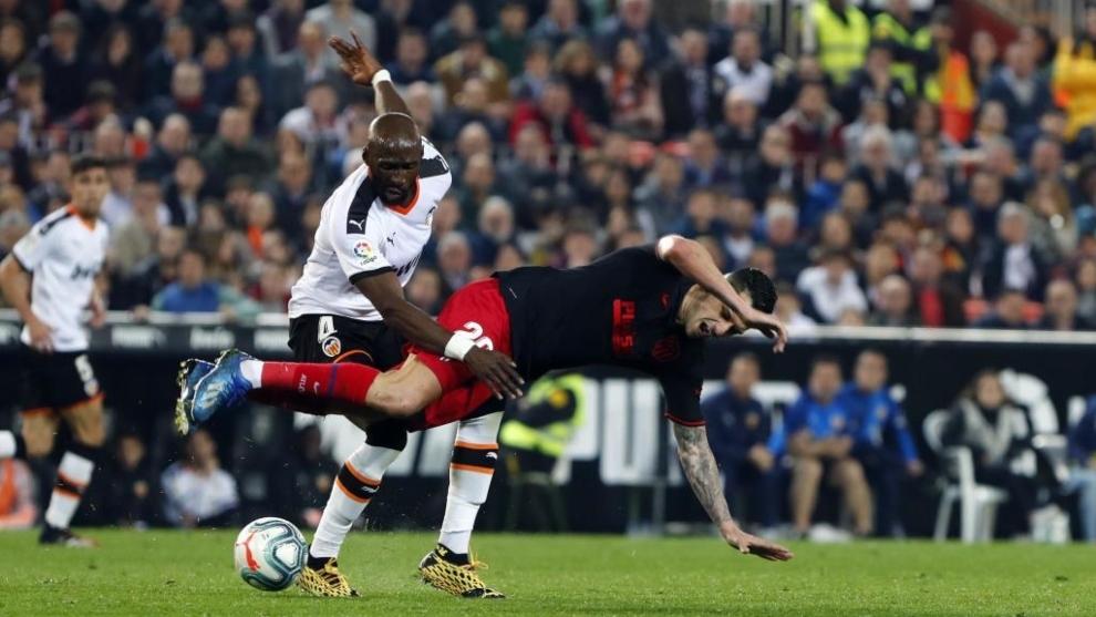 Mangala enters hard against Vitolo.