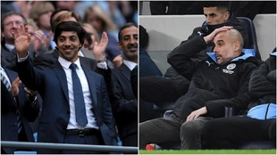 El dueño del Manchester City, Sheikh Mansour y Pep Guardiola.
