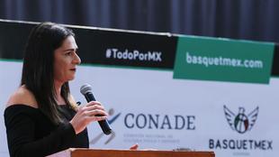 Ana Guevara durante una conferencia de prensa de la Ademeba
