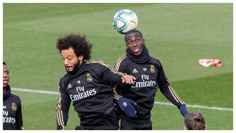 Mendy y Marcelo, durante un entrenamiento.