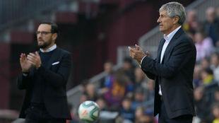Bordalás y Setién, en el Camp Nou.