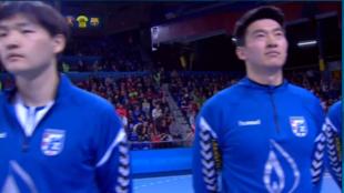 Los jugadores chinos del Zagreb, durante la presentación de los...