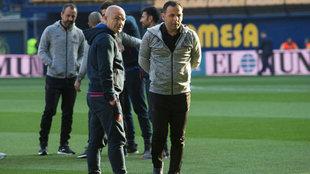 Paco y Calleja, antes del partido.
