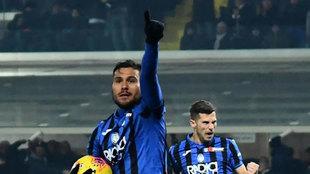 Palomino celebra su gol a la Roma.