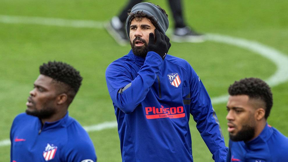 Diego Costa, durante un entrenamiento del Atlético