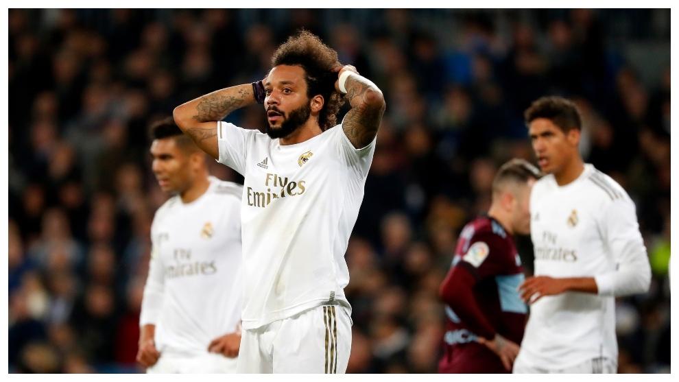 Marcelo, con las manos en la cabeza al acabar el partido.