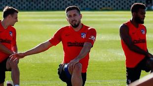 Herrera en un entrenamiento del Atlético.