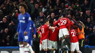 El United celebra el triunfo.