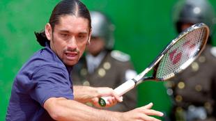 Marcelo Ríos durante una Copa Davis en el 2003 |