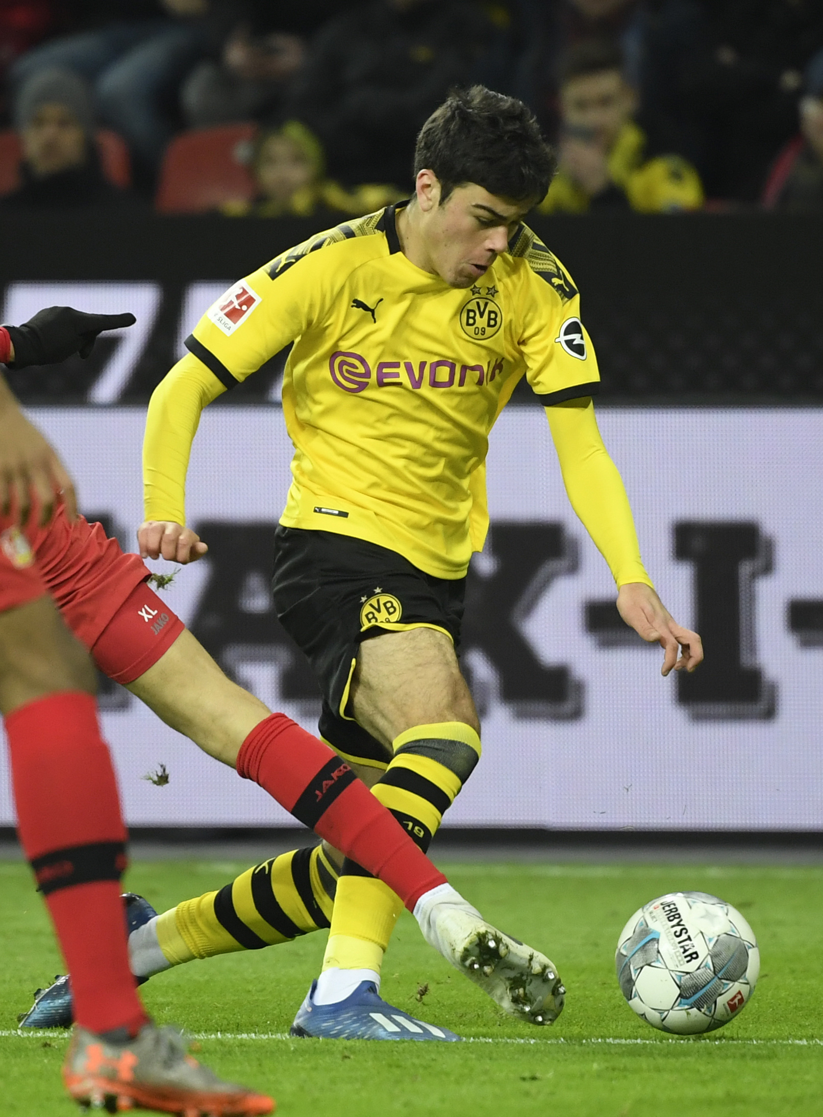 Dortmunds US midfielder Giovanni lt;HIT gt;Reyna lt;/HIT gt; vies for the ball during the German first division Bundesliga football match Bayer 04 Leverkusen vs BVB Borussia Dortmund in Leverkusen, western Germany on February 8, 2020. (Photo by INA FASSBENDER / AFP) / RESTRICTIONS: DFL REGULATIONS PROHIBIT ANY USE OF PHOTOGRAPHS AS IMAGE SEQUENCES AND/OR QUASI-VIDEO