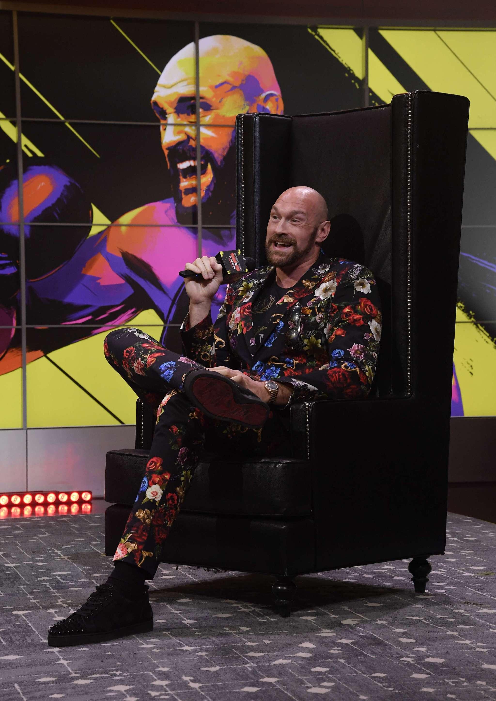 Tyson Fury durante la presentación de su revancha contra Deontay...