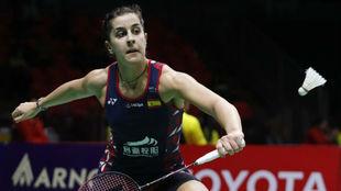 Carolina Marín, durante un partido en el Master de Tailandia.