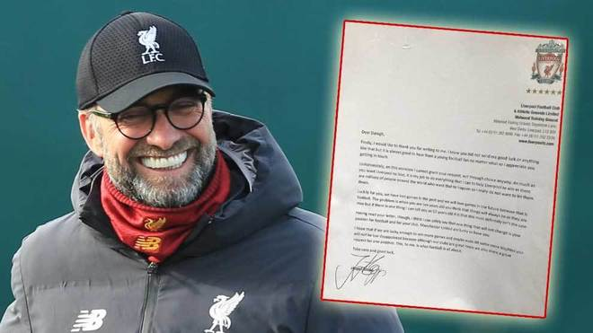 Klopp responds to ten-year-old Manchester United fan's letter