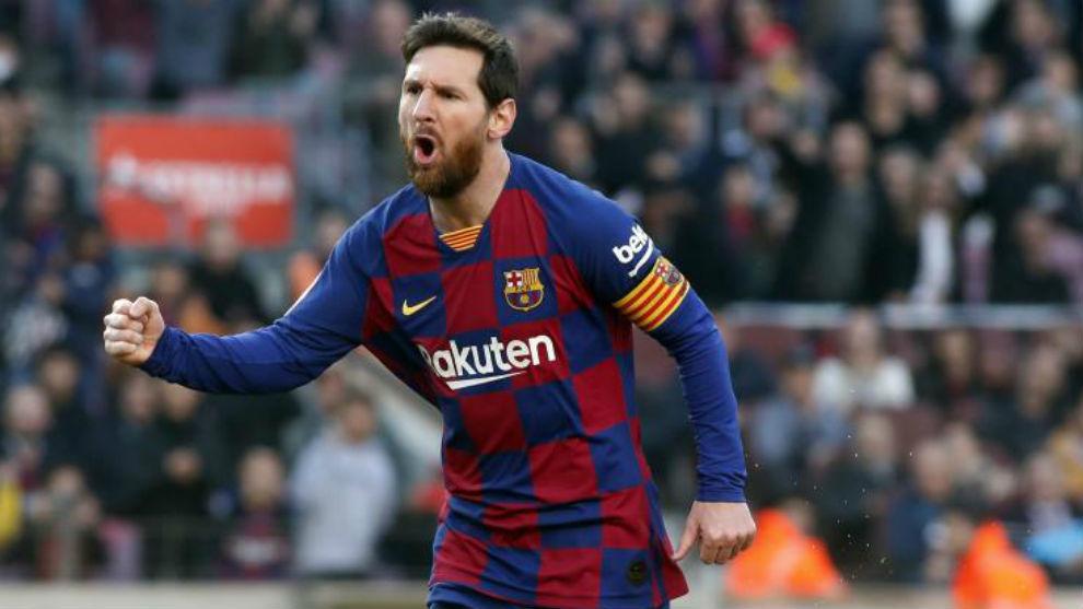 Leo Messi celebra el gol contra el Eibar