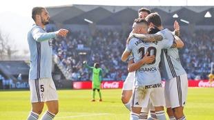 El Celta celebrando un gol ante el Leganés.