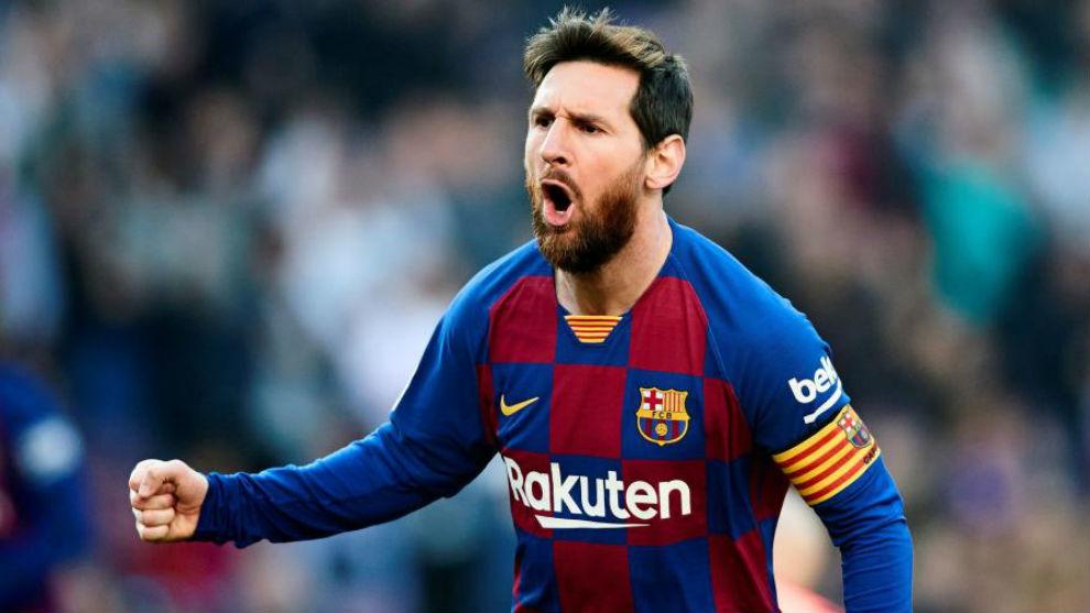 Messi celebrates against Eibar.