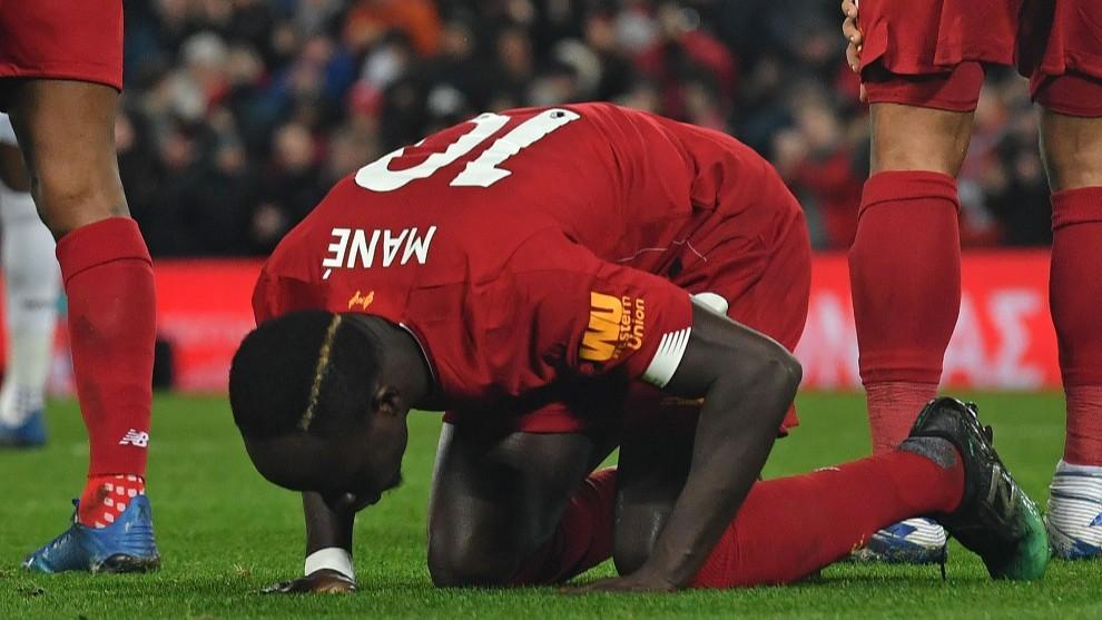 Mané celebra el gol de la victoria ante el West Ham