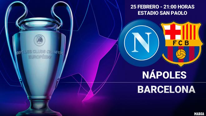 Alineaciones del Napoli - Barcelona en ida de octavos de Champions...