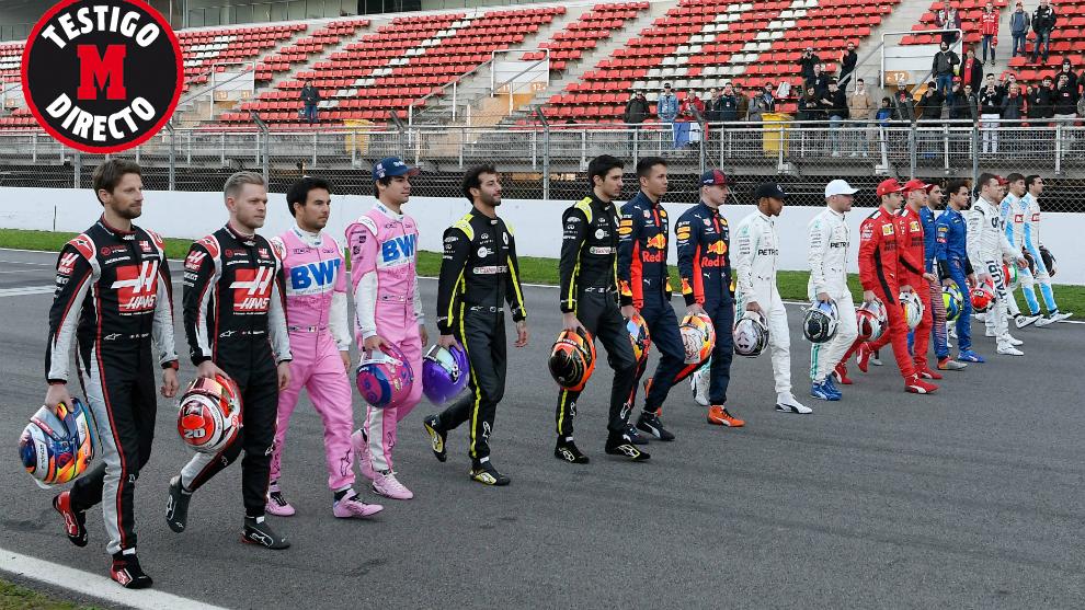 Los pilotos, en el Circuit de Barcelona-Catalunya.