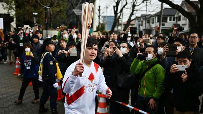 Ensayo del relevo de la antorcha de los Juegos Olímpicos de Tokio...
