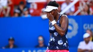 Venus Williams en lamento durante su partido ante Juvan.