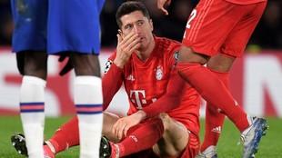 Lewandowski, durante el partido contra el Chelsea