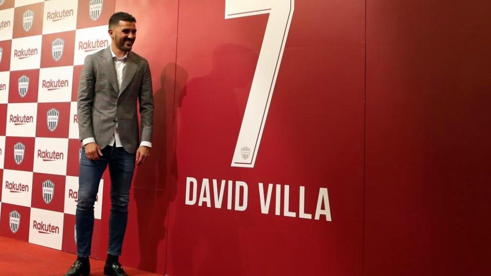 David Villa, el día que anunció su retirada en Japón.