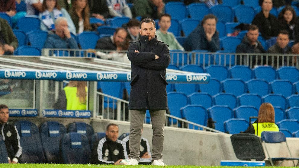 Sergio, en un momento del partido contra la Real.