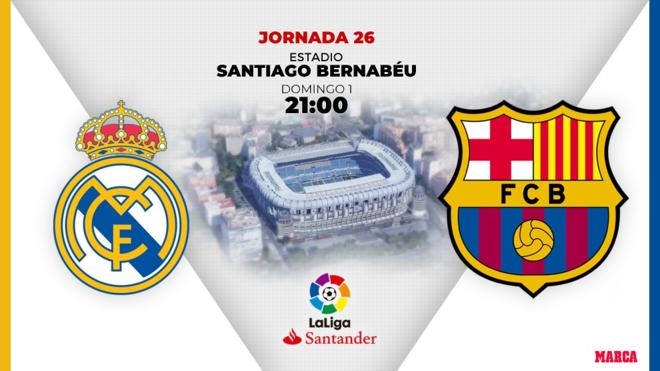 Real Madrid - Barcelona, el Clasico de Liga el domingo 1 de marzo a...