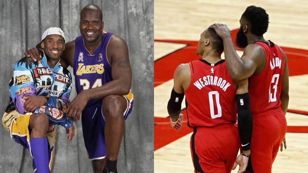 Montaje con la pareja de los Lakers, Kobe y Shaq, y la de los Rockets,...