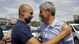 Quique Setién y Pep Guardiola.