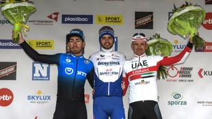 Giacomo Nizzolo, Kasper Asgreen y Alexander Kristoff, en el podio de...