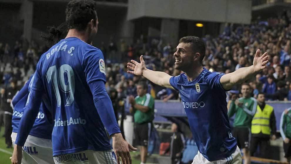 Rodri celebra con sus compañeros el gol del triunfo sobre el Tenerife