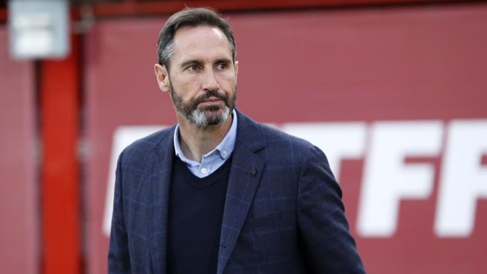 Vicente Moreno, con gesto contrariado durante el Mallorca - Getafe.