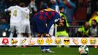 Messi, cabizbajo tras el gol del Madrid